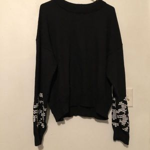Who What Wear black sweater w/ heart sleeve design